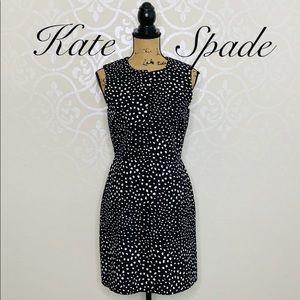 KATE SPADE VENTED SHEATH DRESS BLACK AND WHITE